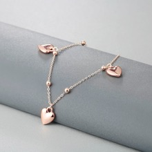 Rose Gold Love Heart Anklets For Women
