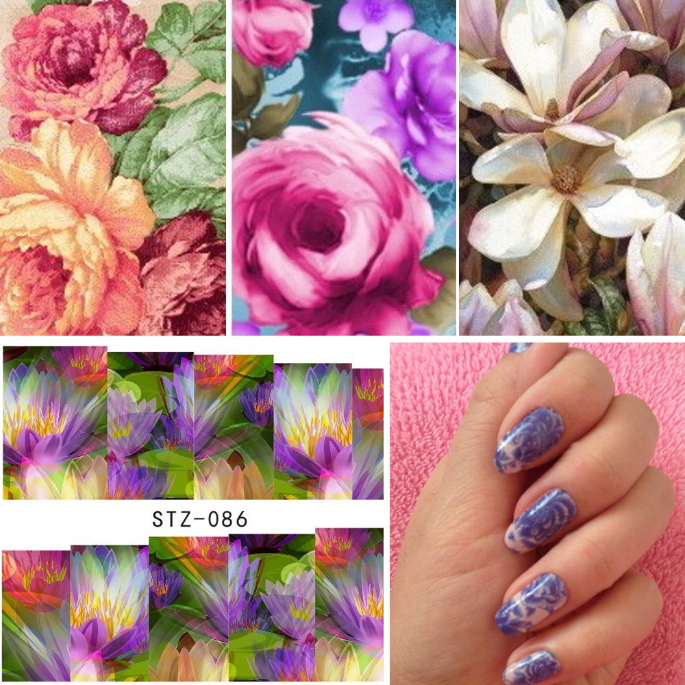 Купить со скидкой 50Sheets Pretty Nails Wraps Flower Water Transfers Nail Art Stickers Foil Manicure Decal Decoration
