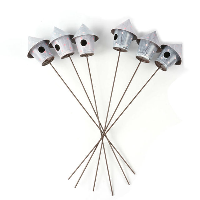 6pcs Metal Gray Birdhouse Garden Stake For Home Decoration Bird Nest Holder  Bird Cage Free Shipping