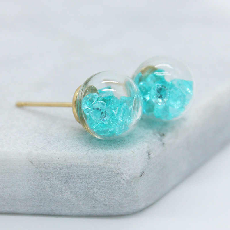 new design fashion brand jewelry Crushed zircon in a variety of cndy colors 10mm glass beads stud earrings for girls.