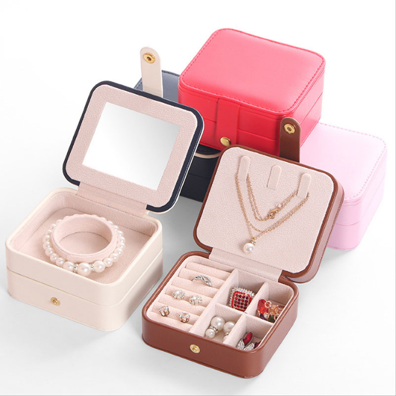 Portable Women Jewelry Box Travel Jewellery Organizer Case PU Leather Jewelry Ring Earring Necklace Storage Box Birthday Gift