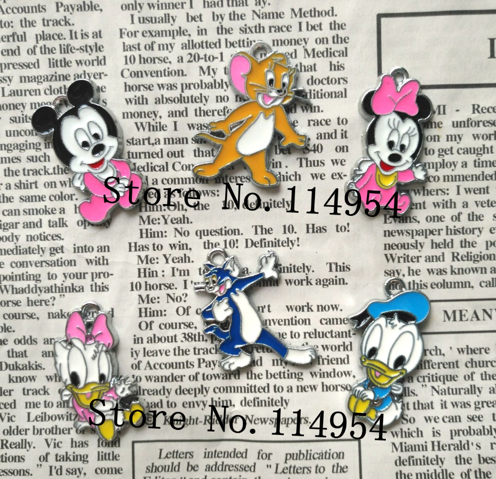 Free Shipping 30 Pcs Cartoon Mickey Minnie Donald Duck Daisy Cat Mouse  Metal Charms Jewelry Making