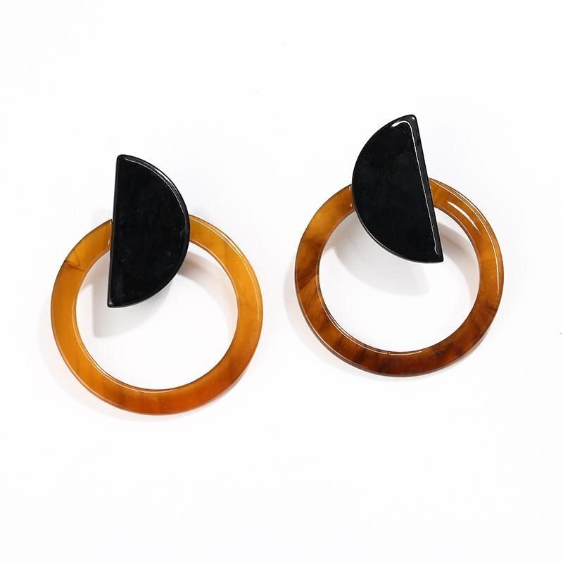 Корейские Модные Акриловые Серьги Геометрические Квадратные висячие серьги из смолы для женщин модные ювелирные изделия Oorbellen - Metal Color: Yellow Round