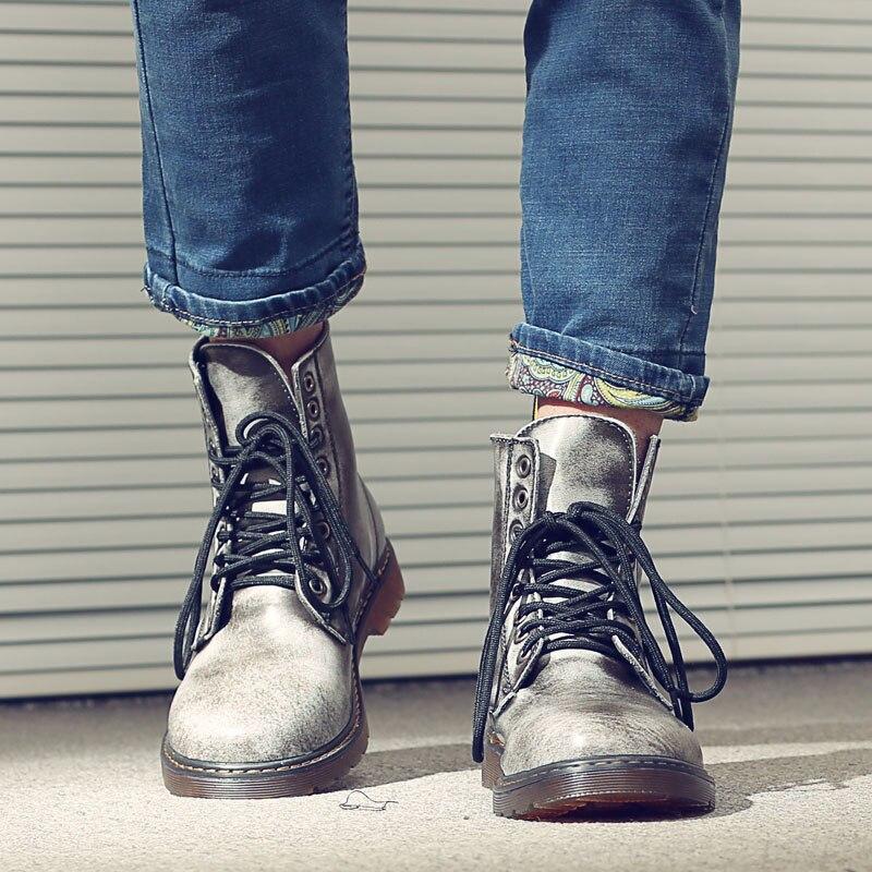 Hommes Lace 47 Chaussures bleu En Cheville Véritable up38 Zapatos Martin gris Noir marron Vintage Militaire D'équitation Bottes Moto Hombre rouge Cuir tshdrCQx