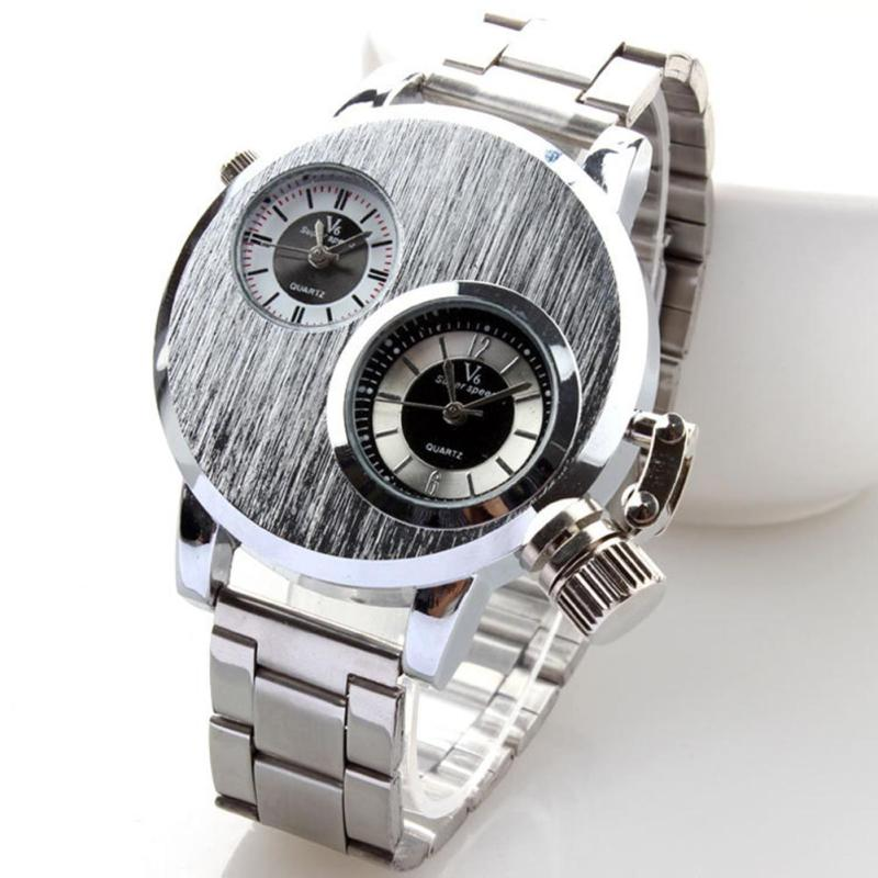 1pc men male student Watches gift Clock Alloy Quartz wristwatches Business sport watch stainless steel round