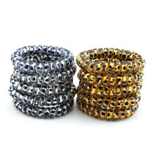 5 Pcs/Set Fashion Gold/Silver Leopard Elastic Rubber Scrunchie Telephone Wire Hairbands Ponytail Holder Tie Gum Hair Accessories(China)