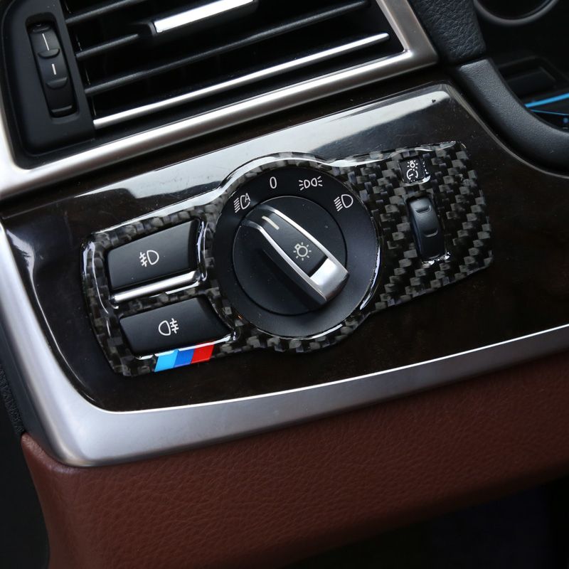 Car styling For BMW X3 X4 F25 F26 5/7 series 5 GT F10 F07 Carbon Fiber Headlight Switch Buttons Frame Cover Stickers Accessories цена и фото