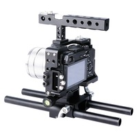 Lightdow Aluminium Alloy DSLR Camera Video Cage Kit Stabilizer with Top Handle Grip for Sony A6000/A6300/A6500 Camera