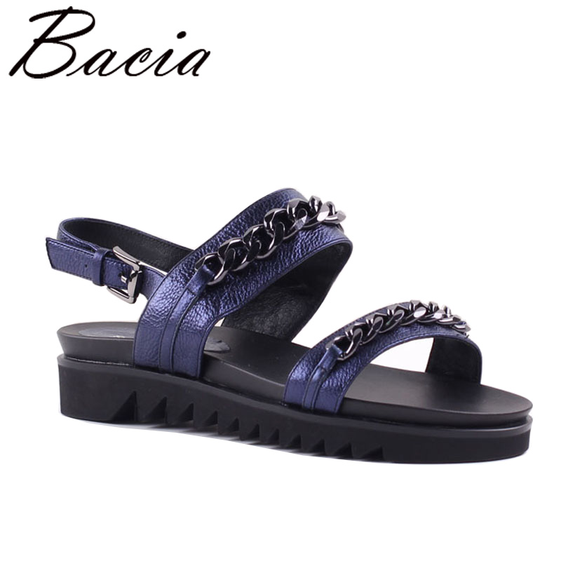 Bacia Full Grain Leather Sandals Women 2017 New Summer Sho Chain Decorated Pumps Genuine Leather Women Shoes 35-40 Size SA055