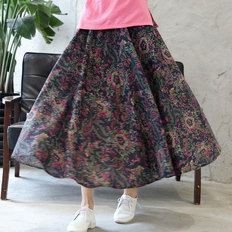Ankle-Length Flower Pleated Women Skirt Hot Sale Print Floral Pockets Skirt Bohemian Elastic Waist Flare Skirt Spring Autumn
