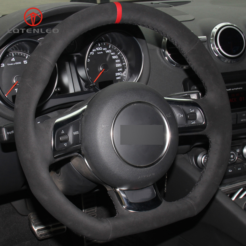 LQTENLEO Black Suede DIY Hand stitched Car Steering Wheel Cover for Audi TT 2008 2013-in Steering Covers from Automobiles & Motorcycles    1