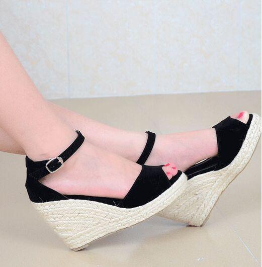 b99c917b69a Plus size 32-44 Slippers Women sandals high heels wedges platform sandals  9cm high heel