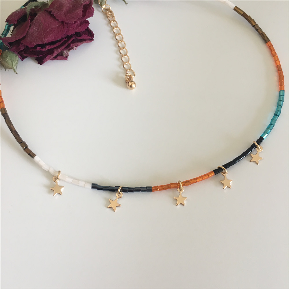Colorful Bead Necklace With Small Star Charm Necklaces For Women Miyuki Tila Jewelery Boho Collier Adjustable String Collar Girl