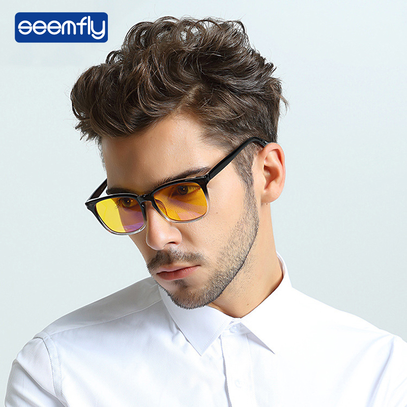 Seemfly Glasses Computer-Eyewear Antifatigue Reading Rays-Frame Ultralight Clear-Lens