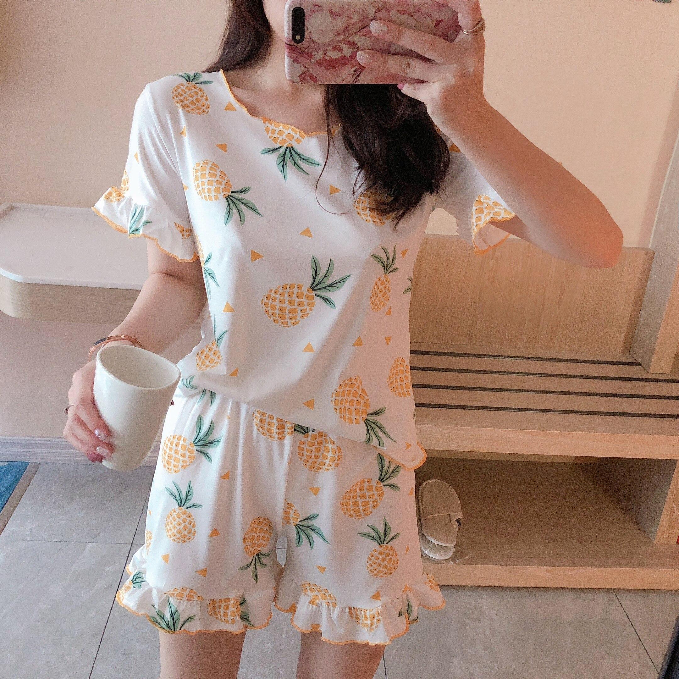 2019 WAVMIT Short Sleeve   Pajamas     Set   2 Pcs   Set   Polyester Women Sleepwear Sexy Nightwear for Women Sleepwear Short Pant
