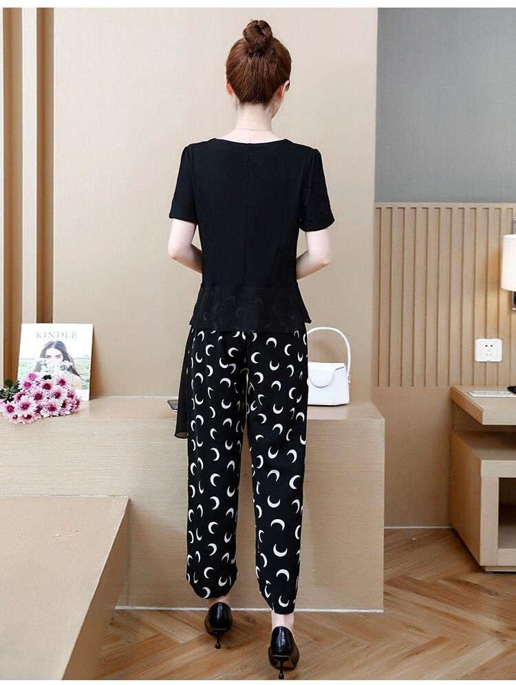 2019 Black Summer Two Piece Sets Outfits Women Plus Size Asymmetrical Tops And Printed Wide Leg Pants Korean Elegant Suits L-5xl 30