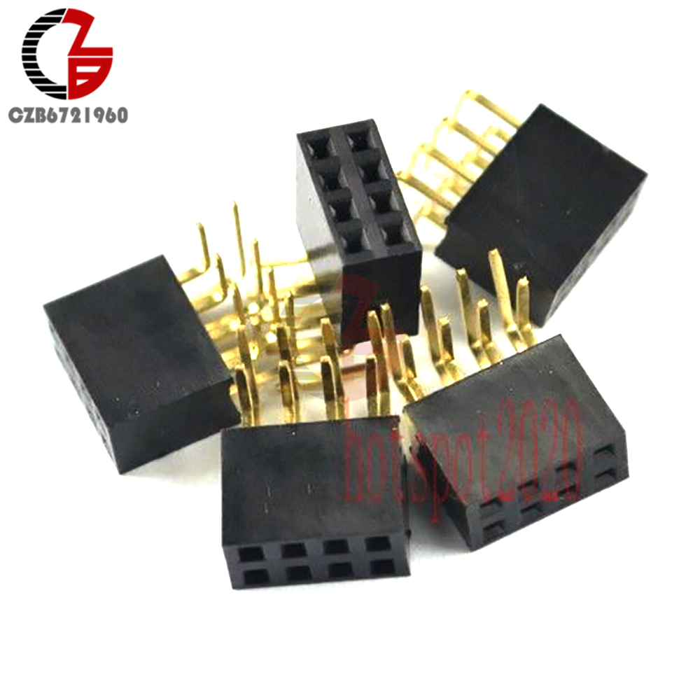 20PCS 2x4Pin Header Right Angle Female Double Row Socket Connector 2.54mm Pitch