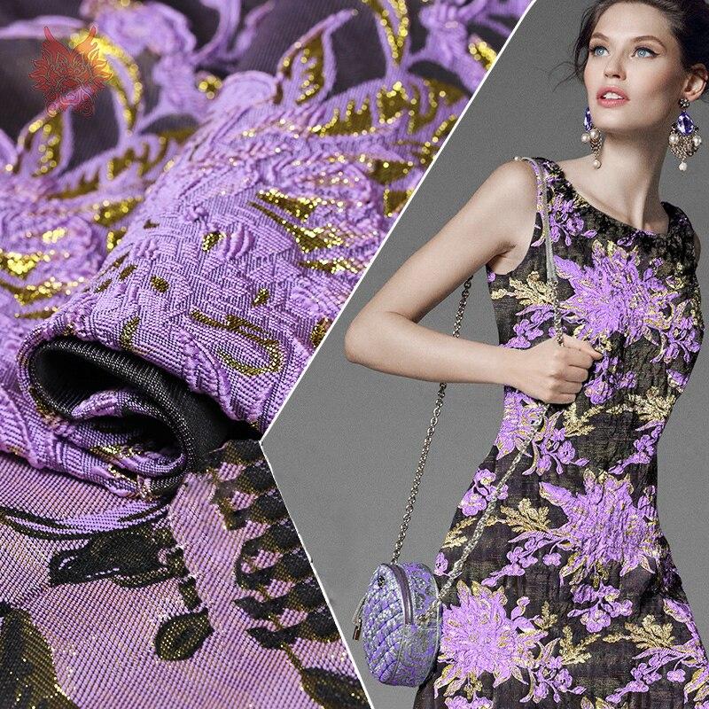 France style designer 3D violet or floral jacquard brocart tissu pour robe manteau tissu pour coudre tela livraison gratuite SP3180