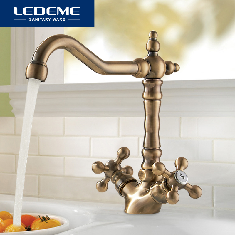 LEDEME Europe Style Basin Kitchen Faucet Total Brass Bronze Finished Swivel Bathroom Faucet Mixer Tap Sink Tap 360 Degree L4019C
