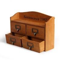 Zakka Desktop Storage Cabinet Drawer Cabinet Wooden Locker Two Multifunctional Cosmetic Cabinet