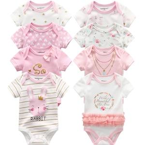 Image 3 - 新生児ボディスーツ 8 ピース/ロット綿レースデザイン印刷夏bodys服roupasデベベスーツ女の服