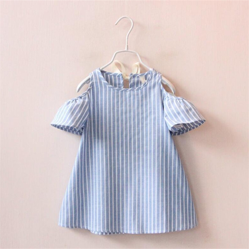 Lollas Little Girl Vertical Stripes Dress Strapless Dress Summer Childrens A Word Childrens Wear