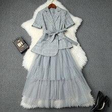 Женский костюм с юбкой, весна-лето, новинка, короткий рукав, в клетку, нестандартный, маленький Блейзер, куртка+ эластичная резинка на талии, сетчатая юбка средней длины