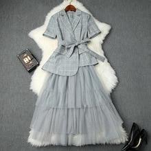 Skirt Suit Ladies 2019 Spring Summer New Short Sleeved Plaid Irregular Small Blazer Jacket + Elastic Waist Mesh Cake Midi