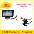 Assistência De Estacionamento Auto New LED de Visão Noturna CCD câmera de Visão Traseira Do Carro câmera Com 4.3 de polegada de Cor LCD Monitor Da Câmera de Vídeo Do Carro HD