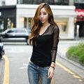 Autumn Newest Women T-shirt 2016 Sexy Women Fashion Slim Net Yarn Splicing Bottoming Shirt V Neck Mesh Long Sleeve Female Tees