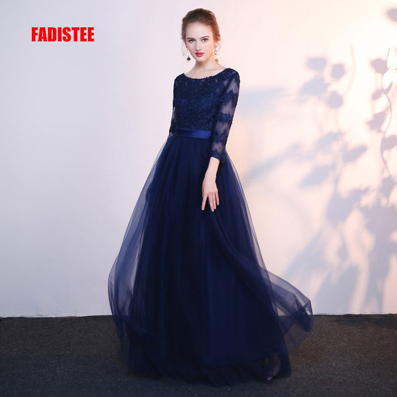 FADISTEE new arrival party   prom     dress   Vestido de Festa O-neck evening party full sleeves long style formal evening lace frock