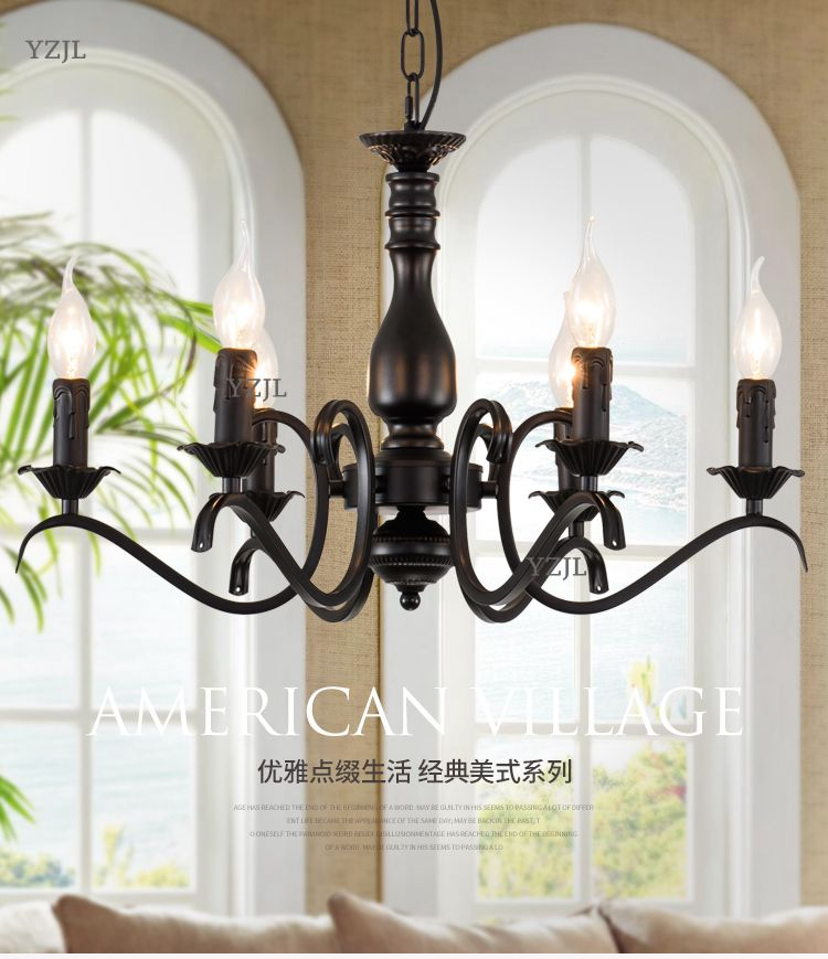 Chandelier lamp iron European Living room restaurant American modern bedroom simple shop bar chandelier lighting chandeliers modern simple european style dining room lighting american hollow carved iron bedroom pendant lights