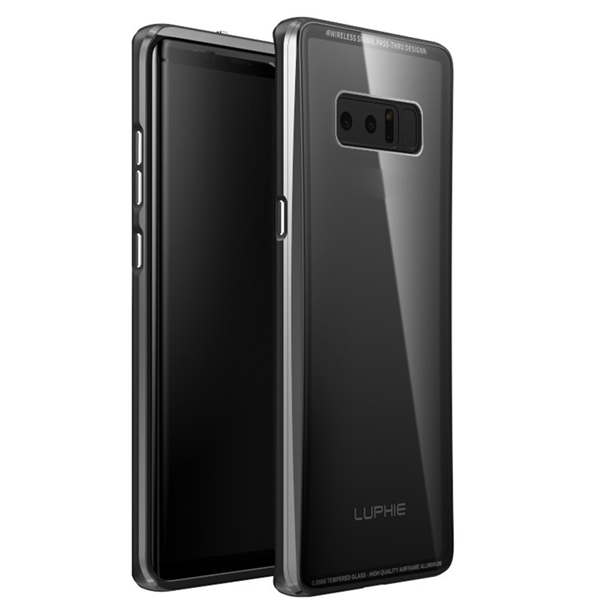LUPHIE 2in1 for Samsung Galaxy Note 8 Aluminum Bumper Back Cover 9H Nano Glass