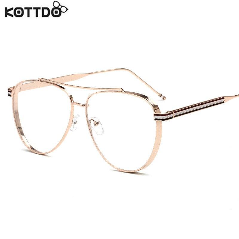 KOTTDO 2017 Metal Full Rim piloto gafas marco mujeres hombres miopía marcos ópticos ordenador oro gafas Wome gafas lentes