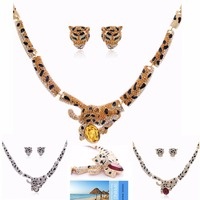 High Quality Austrian Crystals Rhinestone Leopard Necklace Earring Jewelry Set SNA3032 Clearance Sale