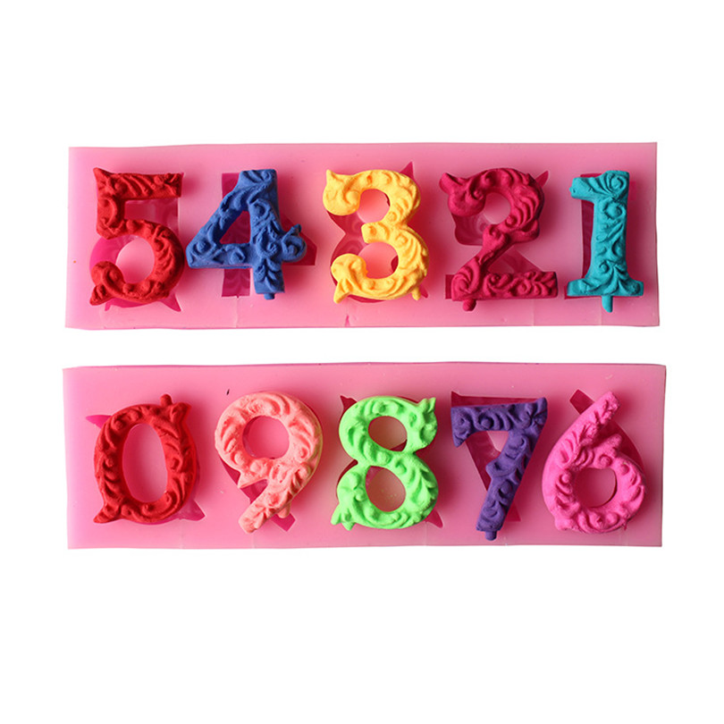 3D 0-10 Number /Digit Shape Silicone Cake Mold ,Cupcake Cookie Chocolate Kitchen Baking Mould Fondant Cake Decorating Tools
