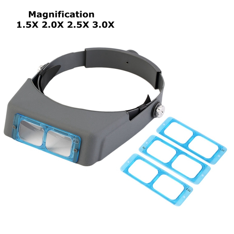 Optivisor 1.5x 2x 2.5x 3.5x Kopf Tragen Lupe Auge Lupe Uhrmacher Repair Third Hand Helm Lupen