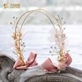 Gorgeous silk flower hairband girl crown crystal bride hairwear pearl jewelry gifts festival wedding hair accessories hy079