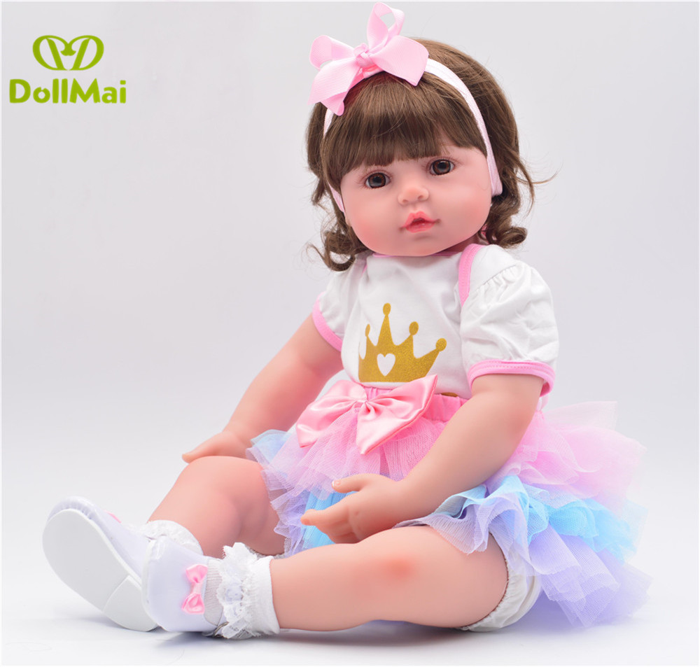Bebe Doll Reborn Crown princess girl  58cm vinyl silicone reborn baby dolls toys for children gift alive toddler babies dollBebe Doll Reborn Crown princess girl  58cm vinyl silicone reborn baby dolls toys for children gift alive toddler babies doll