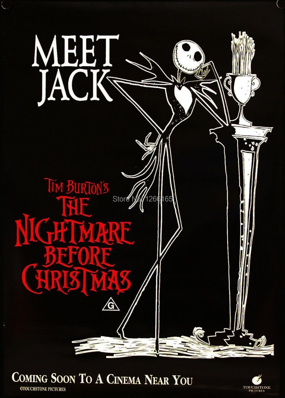 the nightmare before christmas movie poster jack tim burton print on silk home decoration 12x18. Black Bedroom Furniture Sets. Home Design Ideas