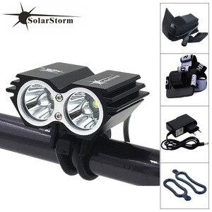 SolarStorm 2x XM-L 5000Lm T6 LED Ciclismo Frente Bicicleta Lâmpada Bicicleta Farol + 6400 mAh Bateria + Carregador + Headband