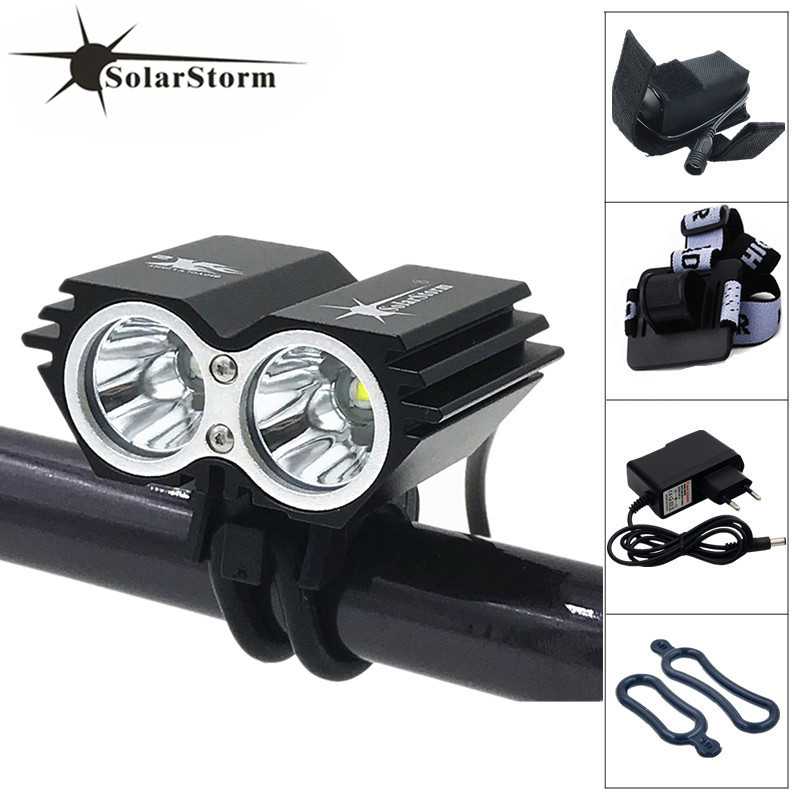 SolarStorm 2x XM-L T6 LED 5000Lm Cycling Front Bicycle Lamp Bike Headlight + 6400mAh Battery + Charger + Headband