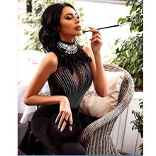 wholesale 2019 New dresses black feather Rhinestone Mesh perspective fashion luxurious Celebrity Party bandage Dress(L2663)