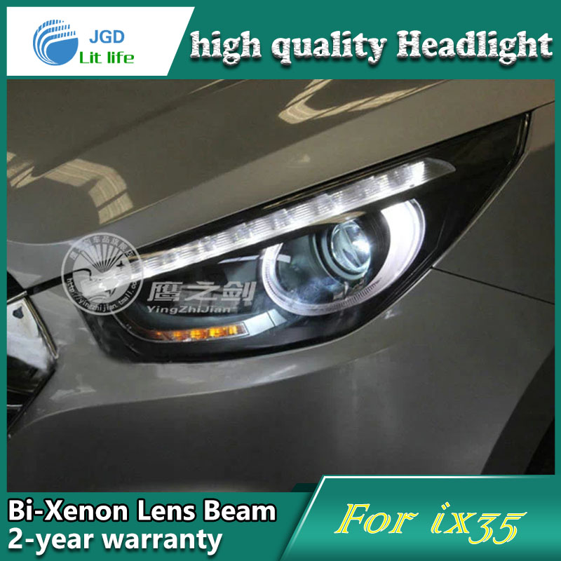 Car Styling Head Lamp case for Hyundai IX35 2010-2012 Headlights LED Headlight DRL Lens Double Beam Bi-Xenon HID Accessories hireno headlamp for 2010 2012 kia sorento headlight assembly led drl angel lens double beam hid xenon 2pcs