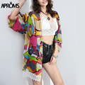 Elegant Colorful Print Beach Sunscreen Chiffon Kimono Cardigan Summer Tops Women Blusa Feminina Ropa Mujer 40297