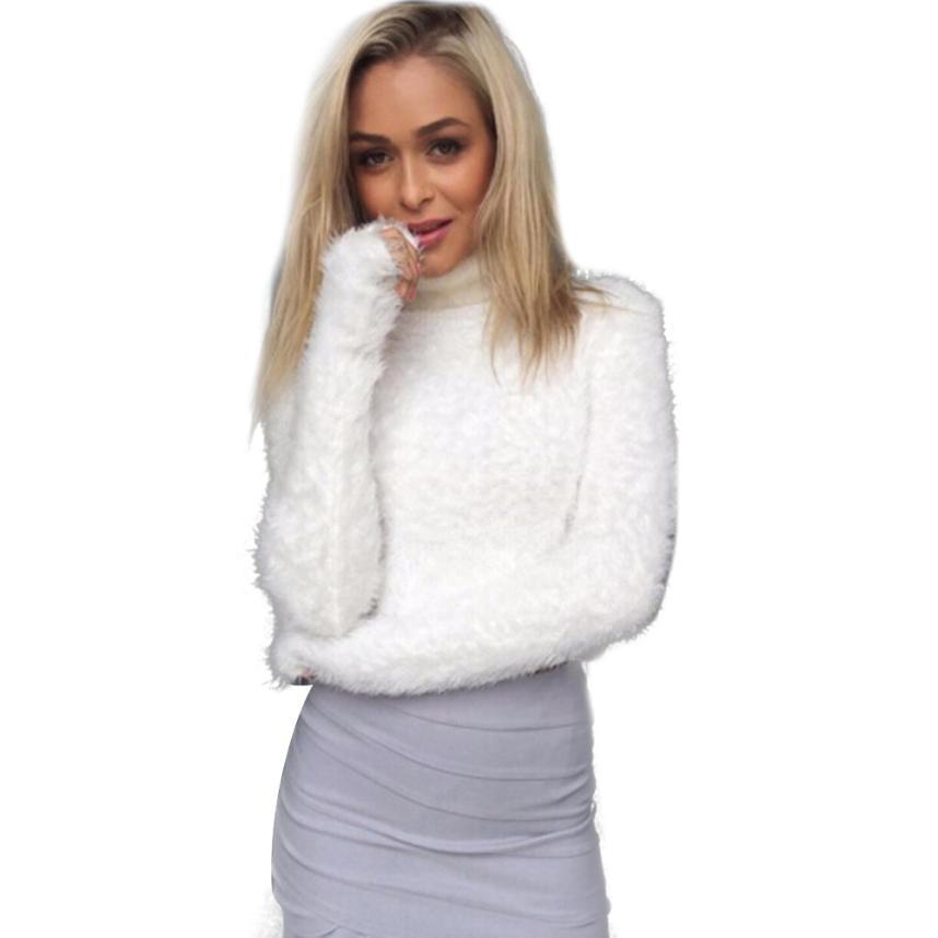 Suéter de las mujeres Camisa de cuello Alto de manga Larga Umbilical Plush Top d