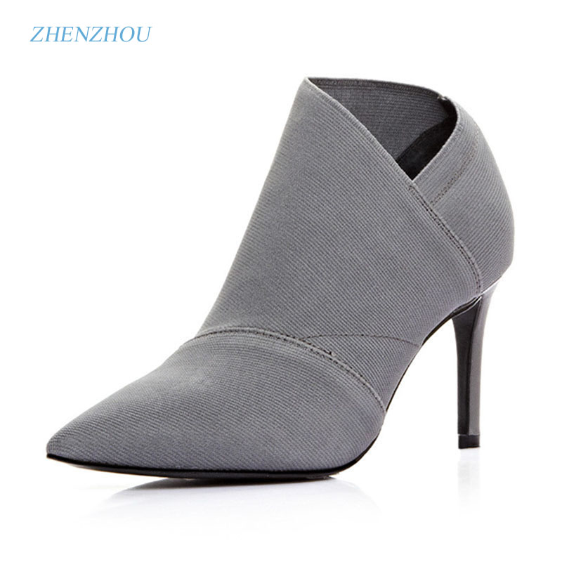 The new 2017 Black fashion Ankle boot microfibers Pointed high-heeled One foot stirs the bullet Stretch the womens shoes
