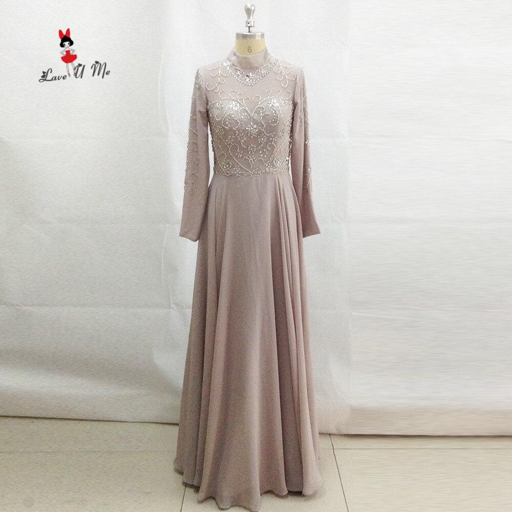 US $13.13 13% OFFGrau High Neck Muslimischen Abendkleid Langarm  Abendkleider Luxus Avondjurken Gala Jurken Marokkanischen Kaftan Kleid  Dubaidresses