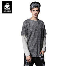 Genanx Brand Men'S Fake Two Piece Long Sleeve T-Shirt Loose Contracted Natural Hemming Clothing Male  Size M-XXL