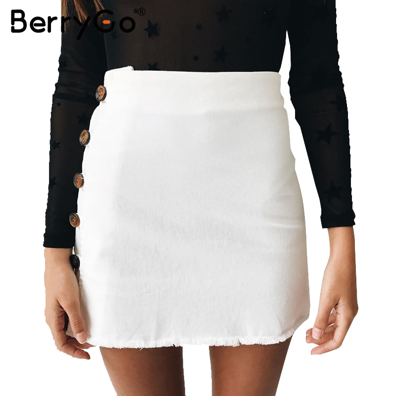 BerryGo High waist white pencil skirt Zipper 2017 new ...